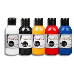 Set de pinturas básicas para aerógrafo Senjo Colors 5x75ml